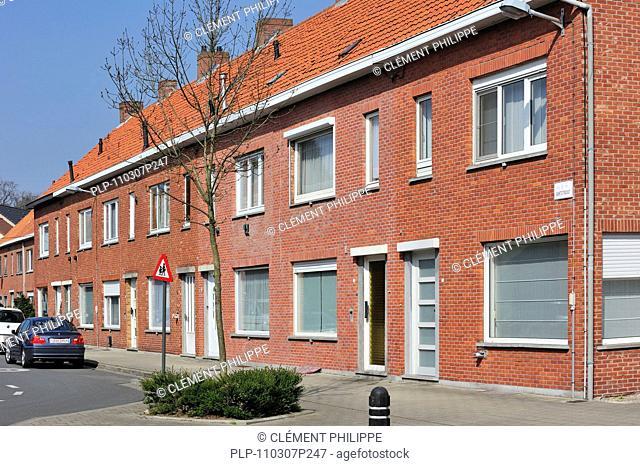 Brick townhouses in suburb of Ghent, Belgium