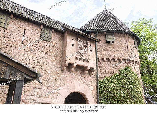 The walls of Haut-Koenigsbourg castle in Alsace, France