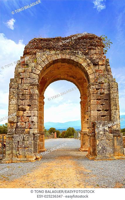 Arch roman of Caparra in Spain Extremadura by the Via de la Plata way