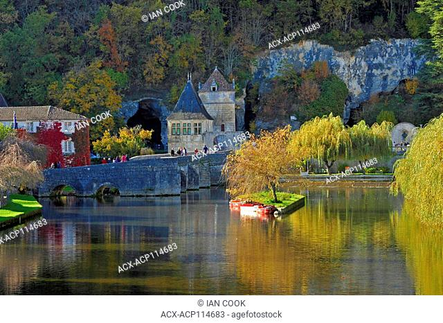 Angled Bridge and River Dronne at Brantome, Dordogne Department, Aquitaine, France