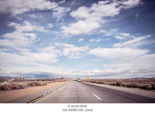 Highway landscape, Joshua Tree, California, USA