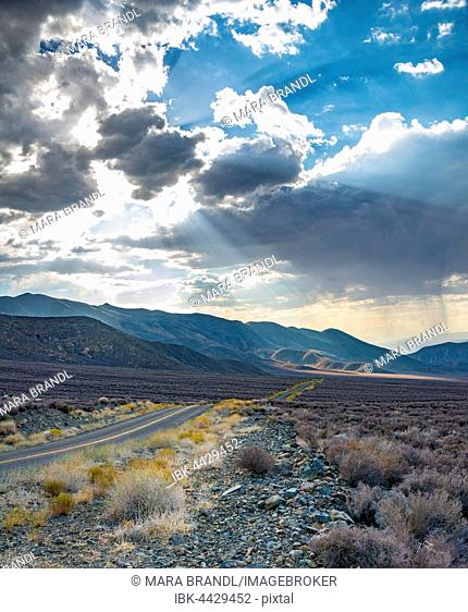 Dramatic clouds over highway, Death Valley National Park, California, USA