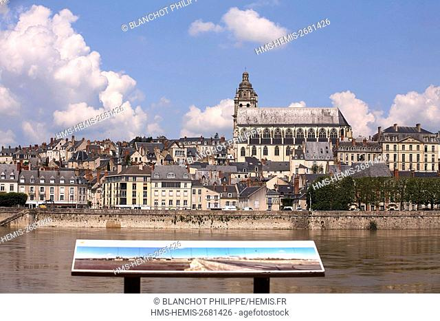 France, Loir et Cher, Loire Valley, listed as UNESCO World Heritage, Blois, The Loire River and St. Louis Cathedral
