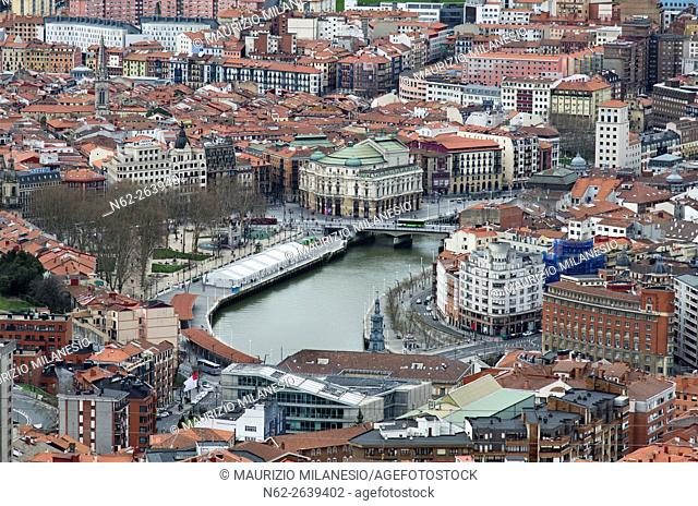 High Angle View of the city of Bilbao, Biscay, Basque country Spain, in the center the opera house, Arriaga theatre, and Nervion River