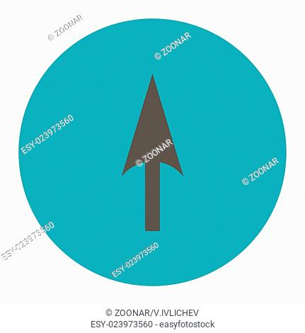 Arrow Axis Y flat grey and cyan colors round button