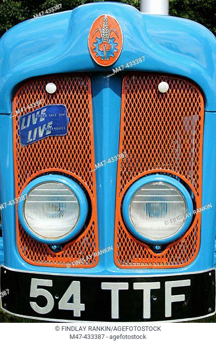 Front grill of 1961 Fordson Dexta tractor, registration number 54 TFF