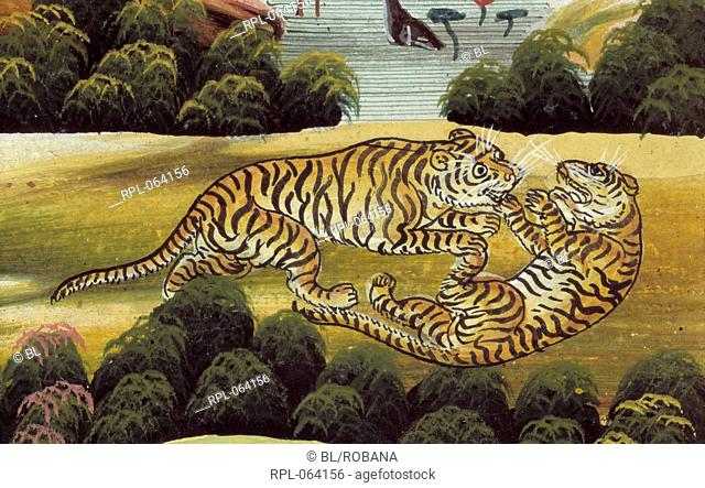 Two tigers fighting. The fabulous region of Himavant covered in forests with sevan great lakes and inhabited by gods sages demons and wild animals