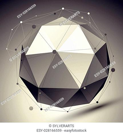 Spatial vector futuristic digital eps8 backdrop, dimensional technology orbital element with wireframe placed over contrast background