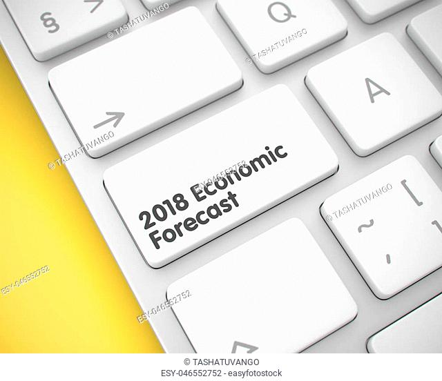 2018 Economic Forecast Keypad on the Modern Laptop Keyboard. Laptop Keyboard Keypad Showing the Text 2018 Economic Forecast