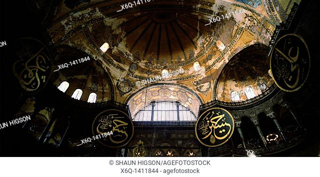 Inside the Hagia Sophia in Istanbul in Turkey in the Middle East