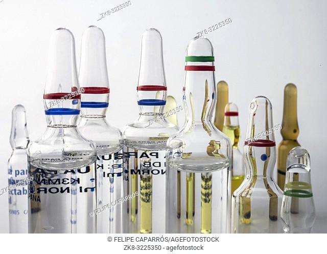 Several vials of glass, conceptual image