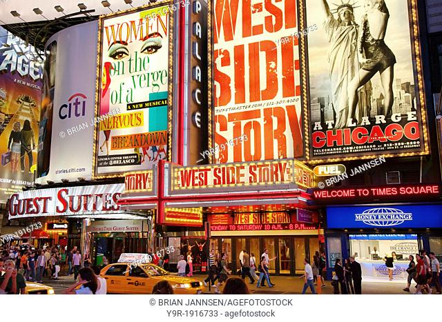 Broadway show signs along 42nd Street at Times Square, New York City, USA