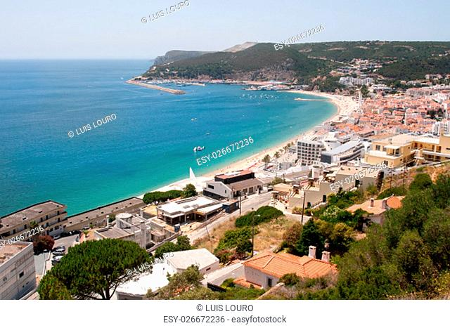Beautiful view of Sesimbra beach in Portugal