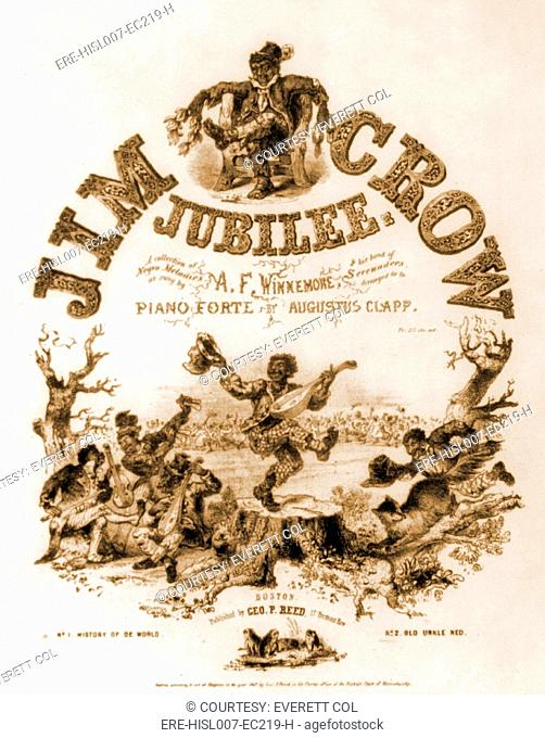 Sheet music cover titled, JIM CROW JUBILEE, of Negro Melodies illustrated with caricatures of ragged African American musicians and dancers