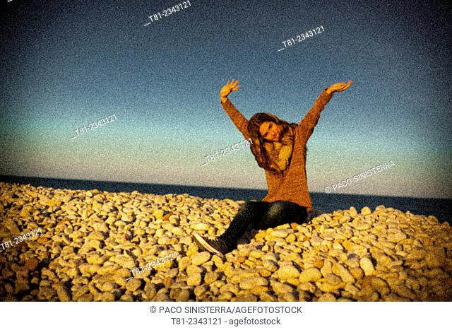 waving girl on the beach, Alcossebre, castellon