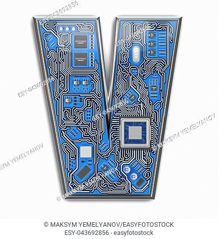 Letter V. Alphabet in circuit board style. Digital hi-tech letter isolated on white. 3d illustration