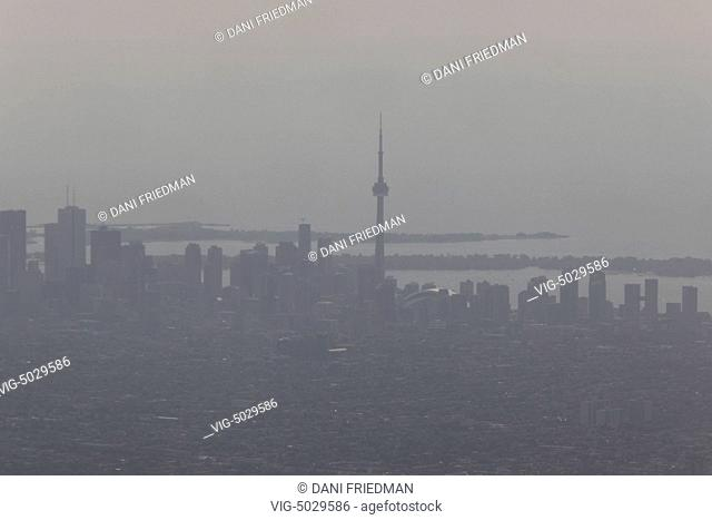 Thick smog covering the city of Toronto in Ontario, Canada. - TORONTO, ONTARIO, Canada, 10/08/2014