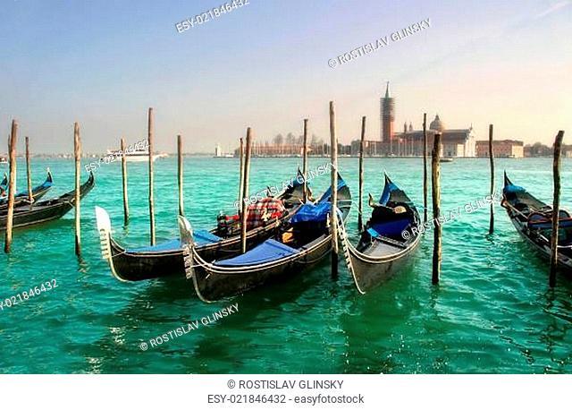 Gondolas on Grand Canal against of San Giorgio Maggiore church in Venice