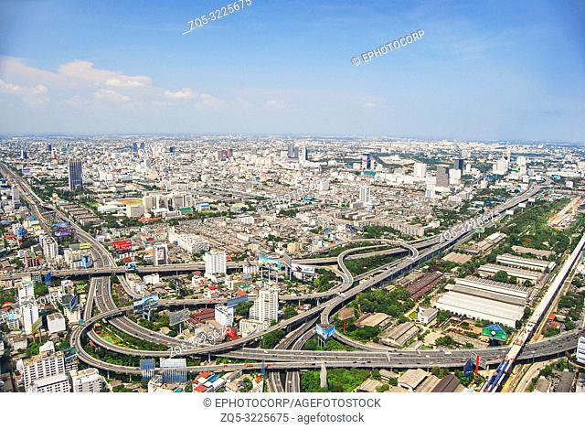 Aerial view of Roadways and city, Bangkok, Thailand