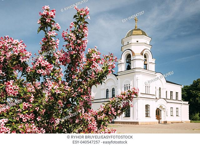 Brest, Belarus. Belfry, Bell Tower Of Garrison Cathedral St. Nicholas Church In Memorial Complex Brest Hero Fortress In Sunny Summer Day