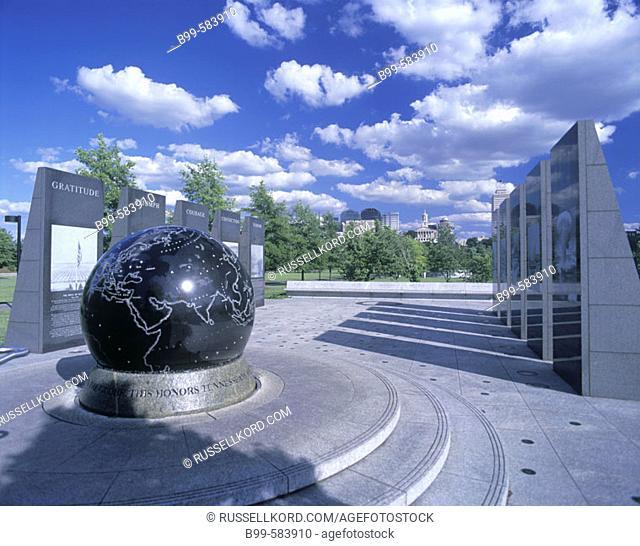 World War 2 Memorial, Bicentennial Mall, Nashville, Tennessee, Usa