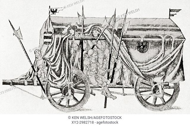 A troop waggon of the army of Maximilian I. Used for transporting troops it was fully covered and held twenty five heavily armed infantrymen