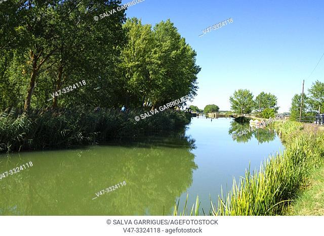 Canal de Isabel II on its way through Fromista, Palencia, Castilla y Leon, Spain