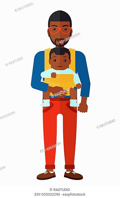 An african-american man carrying a baby in sling vector flat design illustration isolated on white background