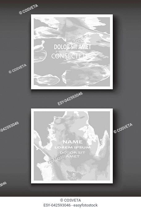 White grey gradient Watercolor explosion shape artistic covers design set. Decorative texture paint fluid colors backgrounds
