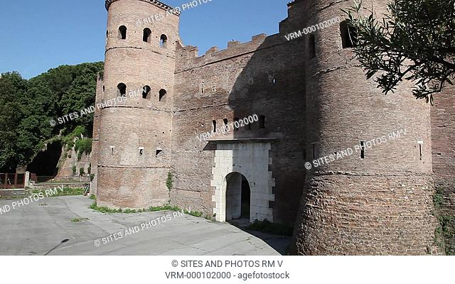 TILT up, Daylight. Exterior. It is a part of the Aurelian walls of Rome. The gate was built between 270 and 273 AD and was dominated by two protruding tower...