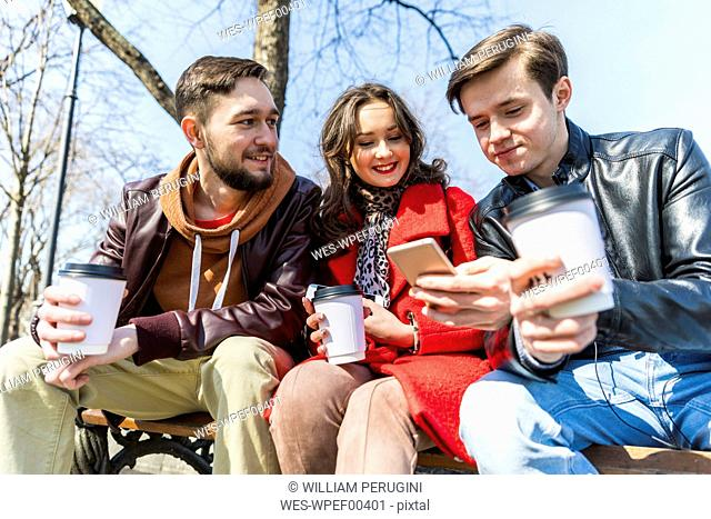 Russia, Moscow, group of friends at park, having fun together, drinking coffee and using phones