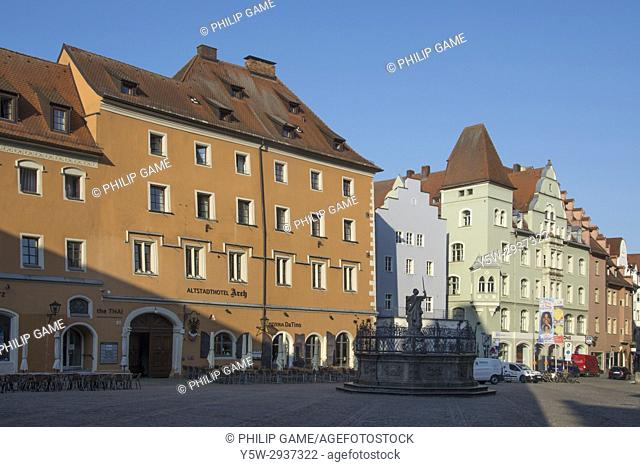 Early morning in the Old Town quarter of Regensburg, Bavaria, Germany