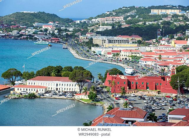 View over Charlotte Amalie, capital of St. Thomas, with Fort Christian, US Virgin Islands, West Indies, Caribbean, Central America