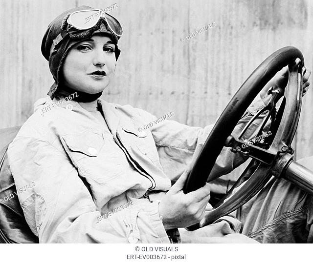 Portrait of female driver All persons depicted are not longer living and no estate exists Supplier warranties that there will be no model release issues