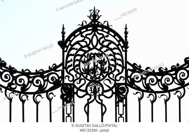 Forged decorative black metal fence castle entrance