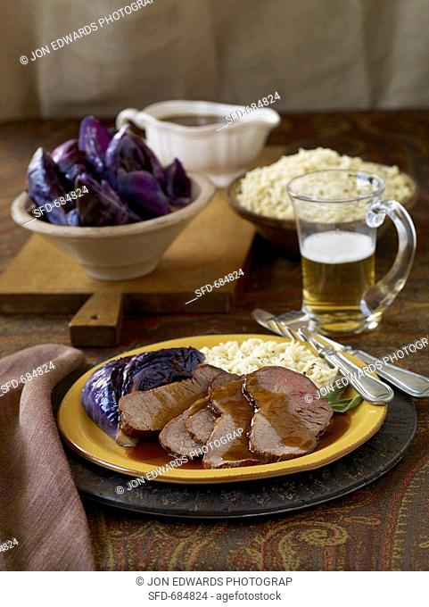 Sliced Steak with Gravy and Purple Cabbage