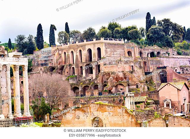 Palantine Hill Roman Forum Rome Italy. Forum rebuilt by Julius Ceasar in 46 BC. Palantine Hill is where Emperors had their palaces