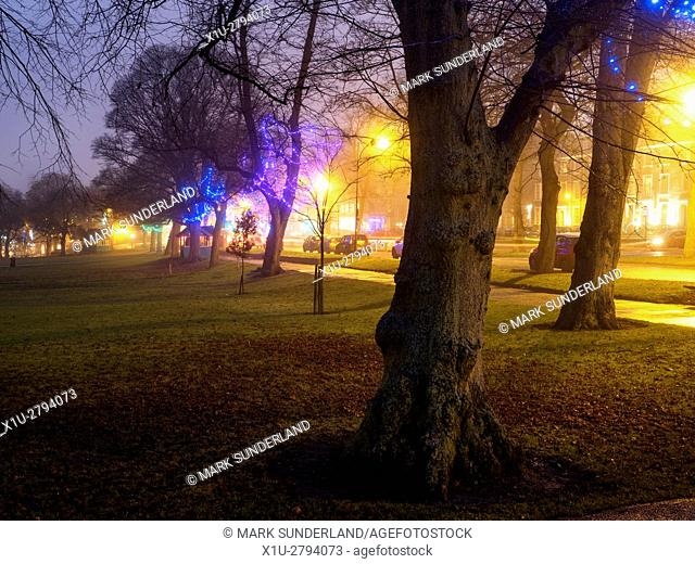 Fairy Lights in Trees along West Park at Dusk on a Misty Evening Harrogate North Yorkshire England