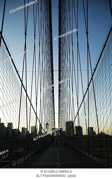 Elevated pedestrian walkway above Brooklyn Bridge, New York City