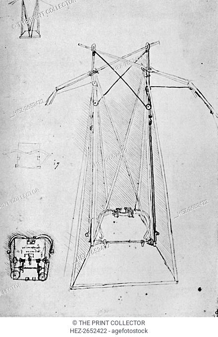 'Study of Motive Apparatus of Flying Machine with Ground Plan of Mechanism of Base', 1928. From The Mind of Leonardo Da Vinci, by Edward McCurdy