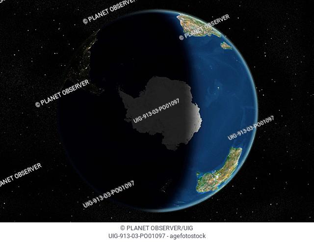 Globe Centred On The South Pole, True Colour Satellite Image. True colour satellite image of the Earth centred on the South Pole, during summer solstice at 6 a