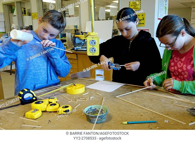 6th Grade Girls in Technology Class, Wellsville, New York, USA