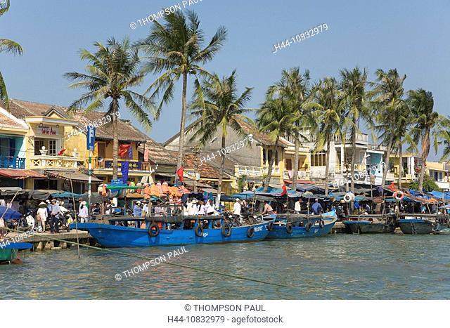 Vietnam, Asia, Thu Bon River, Hoi An, Quang Nam Da Nang Province, river boats, moored, quayside, market day, Southeast