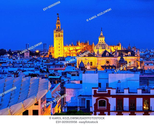 Cityscape of Seville with Santa Maria de la Sede Cathedral, Andalusia, Spain