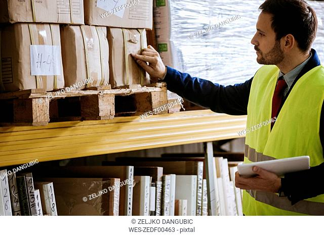 Man in warehouse supervising stock