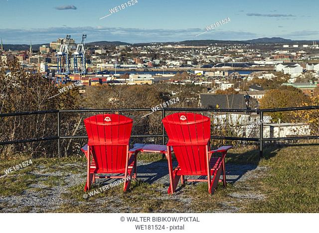 Canada, New Brunswick, Saint John, skyline from the Carleton Martello Tower with red lawn chairs