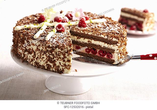 Raspberry Easter cake with a biscuit base