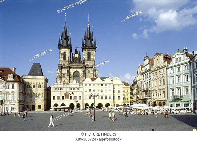 Tyn Church at Old Town Square. Prague. Czech Republic