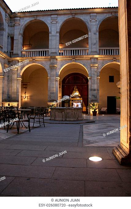 Courtyard view of the Palace of the Dukes of Feria, today the Parador de Zafra, Spain