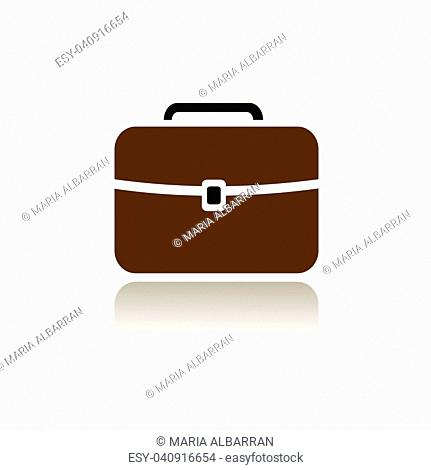 Briefcase icon with color and reflection on white background